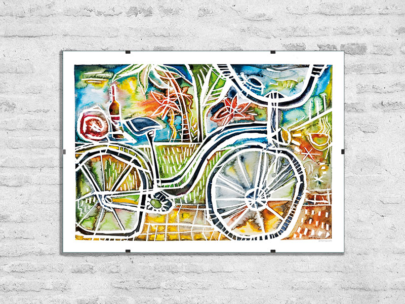 Watercolor art and artrpints – 'Bicycle'