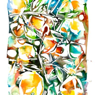 Watercolor Fruits and Flowers – Oranges
