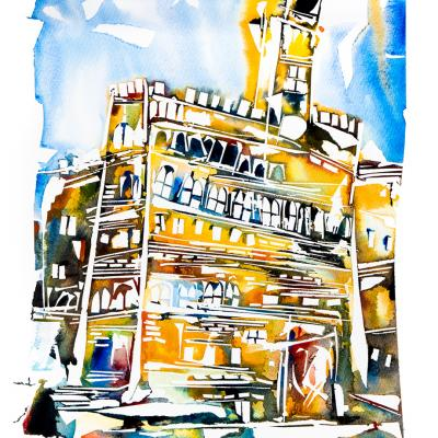 Watercolor art by pintarroja – city landscpaes paintings