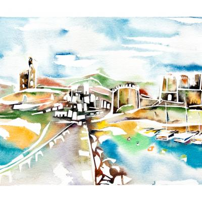 Watercolor city landscape Tarifa